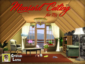Sims 3 — Mansard Ceiling by GrandeLama — Tired of all those unused and empty areas just under your roof? What a waste of