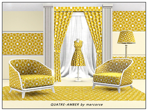Sims 3 — Quatre-Amber_marcorse by marcorse — Geometric pattern quatrefoil design in amber, yellow and white.