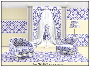 Sims 3 — Quatre-Bloo_marcorse by marcorse — Geometric pattern - quatrefoild design in blue and white.