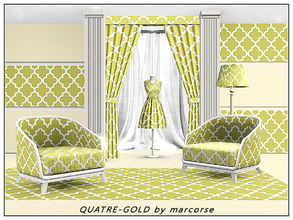 Sims 3 — Quatre_Gold_marcorse by marcorse — Geometric pattern: quatrefoil design in dull gold and white