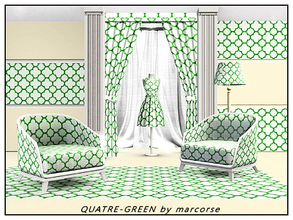 Sims 3 — Quatre_Green_marcorse by marcorse — Geometric pattern: quatrefoil design in green on white