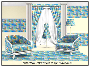 Sims 3 — Oblong Overload_marcorse by marcorse — Geometric pattern: repeat design of rectangle shapes in green,blue,orange