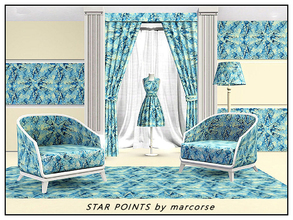 Sims 3 — Star Points_marcorse by marcorse — Geometric pattern: fragmented design of 4-pointed star shapes in blue on