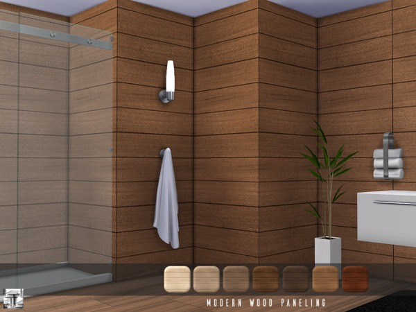 Torque 39 s modern wood paneling for Sims 4 exterior design