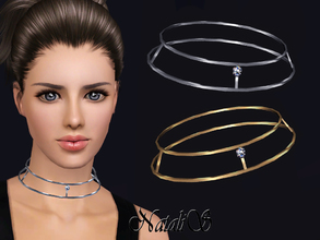 Sims 3 — NataliS TS3 Skinny double necklace with crystal by Natalis — Skinny double necklace with crystal. FT-FA-YA