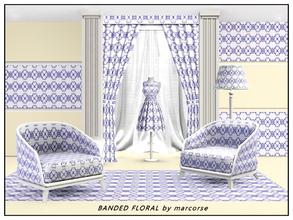 Sims 3 — Banded Floral_marcorse by marcorse — Geometric pattern: simple floral geometric design in blue and white