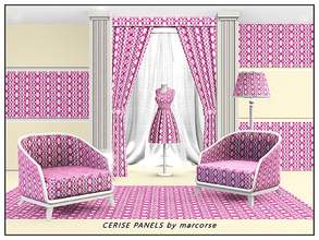 Sims 3 — Cerise Panels_marcorse by marcorse — Geometric pattern: diamond paned vertical panels in cerise, pink and white