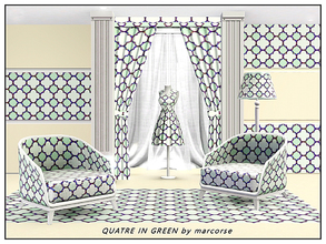 Sims 3 — Quatre-in-Green_marcorse by marcorse — Geometric pattern - quatrefoil design in green and white.
