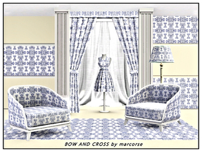 Sims 3 — Bow and Cross_marcorse by marcorse — Abstract pattern: bow and cross repeat design in blue and white