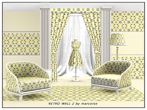 Sims 3 — Retro Wall 2_marcorse by marcorse — Fabric pattern: horizontal retro wallpaper design in yellow, black and white