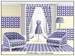 Sims 3 — Retro Wall7_marcorse by marcorse — Fabric pattern: retro wallpaper design in shades of blue on white.
