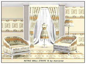 Sims 3 — Retro Wall Stripe 15_marcorse by marcorse — Fabric pattern: stylised water lilies an horizontal retro wallpaper