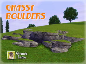 Sims 3 — GrandeLama Grassy Boulders set by GrandeLama — A set of six grassy boulders: three granite boulders and three