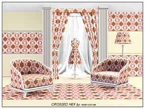 Sims 3 — Crossed Hex_marcorse by marcorse — Geometric pattern: hexagon, circle and cross shapes in pink, tan and white
