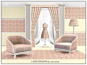 Sims 3 — Lace Doyleys_marcorse by marcorse — Geometric pattern: floral lace doyleys in pink and black on cream