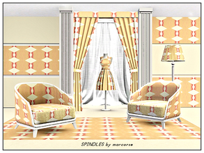 Sims 3 — Spindles_marcorse by marcorse — Geometric pattern: vertical design of spindle shapes in pink, orange and cream