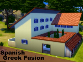 Sims 4 — Spanish-Greek Fusion NO CC by godkamia — A Spanish-Greek style fusion house. The entrance to the house is