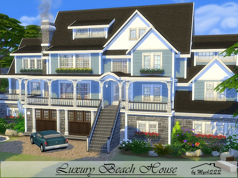 Mychqqq 39 s luxury beach house for Big modern house sims 4