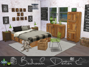 Sims 4 — Bedroom Dexter by BuffSumm — Modern Bedroom with fresh Colors and a lot of Wood :) This set contains 23 new