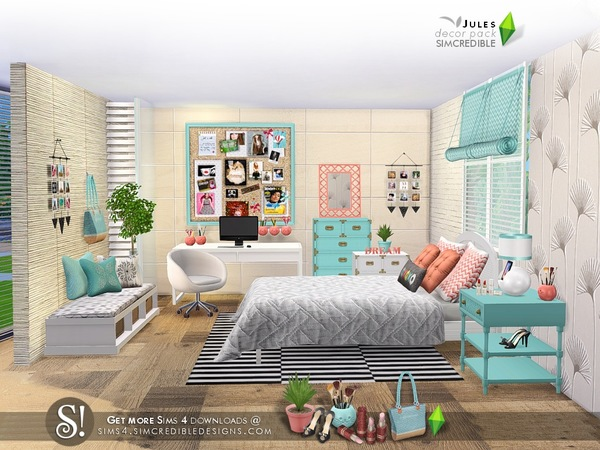 Simcredible 39 s jules decor pack for Room decor sims 4