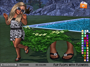 Sims 4 — Flip Flops With Flowers Toddlers by MahoCreations — - basegame - standalone - 36 colors - girls / boys - sandals