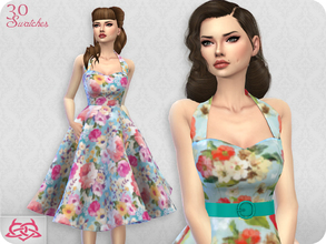 Sims 4 — Sarah dress RECOLOR 1 (Needs mesh) by Colores_Urbanos — 30 recolors - floral Need mesh, look at recommended.