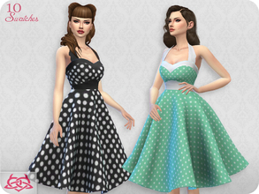 Sims 4 — Sarah dress RECOLOR 2 (Needs mesh) by Colores_Urbanos — 10 recolors - Polka dots Need mesh, look at recommended.