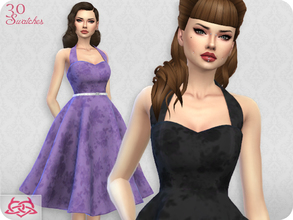 Sims 4 — Sarah dress RECOLOR 4 (Needs mesh) by Colores_Urbanos — 30 recolors - monocromatico floral Need mesh, look at