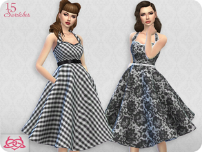 Sims 4 — Sarah dress RECOLOR 5 (Needs mesh) by Colores_Urbanos — 15 recolors - Black and white Need mesh, look at