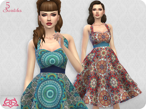 Sims 4 — Sarah dress RECOLOR 6 (Needs mesh) by Colores_Urbanos — 5 recolors - Capulanas Need mesh, look at recommended.