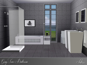 Sims 3 — Gray Tones Bathroom by Lulu265 — A Monochrome modern bathroom is grays and white , to add a modern touch to your