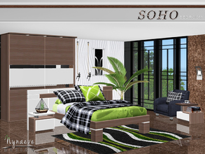 Sims 3 — Soho Bedroom by NynaeveDesign — A pop of color against the rich wood notes of this modern bedroom will bring