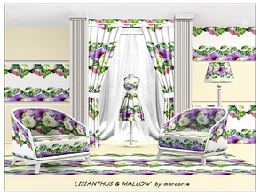 Sims 3 — Lisiant&Mallow_marcorse by marcorse — Fabric pattern - lisianthus and mallow flowers.