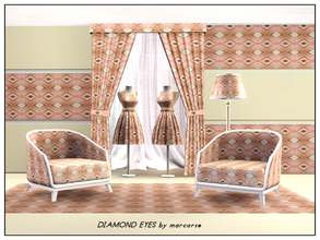Sims 3 — Diamond Eyes_marcorse by marcorse — Geometric pattern: diamond shapes with 'eyes' in pink, brown and white