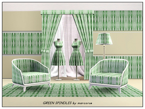 Sims 3 — Green Spindles_marcorse by marcorse — Abstract pattern: vertical spindle shapes in shades of green