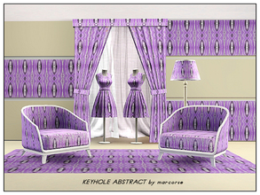 Sims 3 — Keyhole Abstract_marcorse by marcorse — Abstract pattern: keyhole shapes in deep purple on bright lilac with