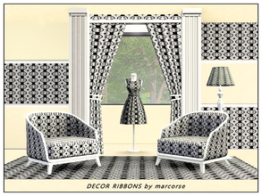 Sims 3 — Decor Ribbons_marcorse by marcorse — Fabric pattern: Vertical decorated ribbons in black grey and white
