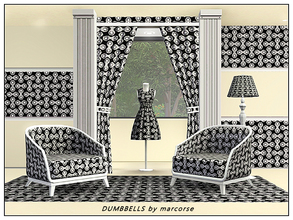 Sims 3 — Dumbbells_marcorse by marcorse — Fabric pattern: black and white dumbbell shapes in vertical and horizontal