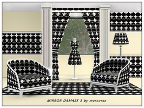 Sims 3 — Mirror Damask 3_marcorse by marcorse — Fabric pattern: black and white quasi damask design with mirrored