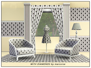 Sims 3 — With Diamonds_marcorse by marcorse — Fabric pattern: horizontal abstract pattern with diamonds alternating