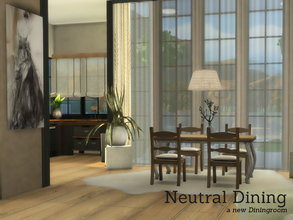 Sims 4 — Neutral Dining by Angela — Neutral DIning Set. Neutral wooden set with rustic details, this set contains: Plant,