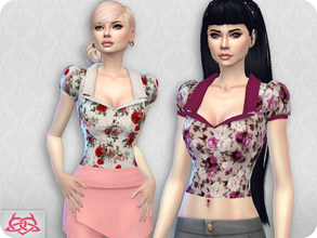 Sims 4 — Matilde blouse RECOLOR 1 (Needs mesh) by Colores_Urbanos — 30 recolors floral Need mesh, look at recommended -