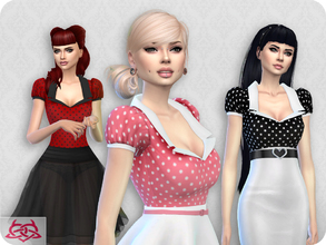 Sims 4 — Matilde blouse RECOLOR 6 (Needs mesh) by Colores_Urbanos — 15 colors polka dots Need mesh, look at recommended -