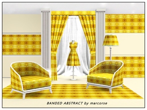 Sims 3 — Banded Abstract_marcorse by marcorse — Abstract pattern: banded abstract design in brown, bright yellow and