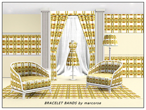 Sims 3 — Bracelet Bands_marcorse by marcorse — Abstract pattern: vertical design of gold bracelets on horizontal brown