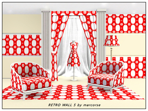 Sims 3 — Retro Wall5_marcorse by marcorse — Fabric pattern - linked frames in a red and white retro wallpaper design