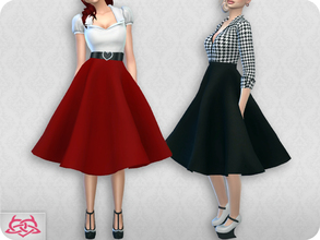 Sims 4 — Vintage Basic skirt 2 (original mesh) by Colores_Urbanos — 30 colors solido New mesh made by me - Your game