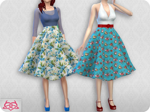 Sims 4 — Vintage Basic skirt  2 RECOLOR 1 (Needs mesh) by Colores_Urbanos — 30 colors floral Need mesh, look at