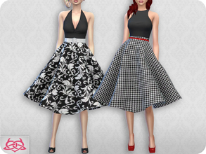Sims 4 — Vintage Basic skirt 2 RECOLOR 2 (Needs mesh) by Colores_Urbanos — 15 colors Black and white Need mesh, look at