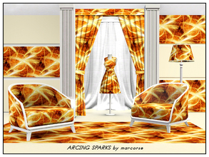 Sims 3 — Arcing Sparks_marcorse by marcorse — Abstract pattern: bright arcing sparks over abstract orange/brown